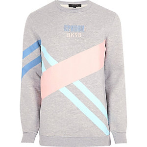 Sweat motif colour block gris