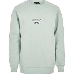 Minty green print sweatshirt