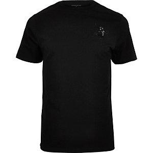 T-shirt noir imprimé panthère