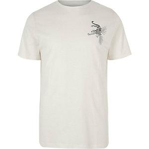 White panther print T-shirt