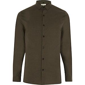 Skinny Hemd in Khaki