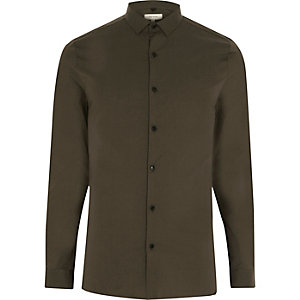 Khaki green stretch skinny shirt