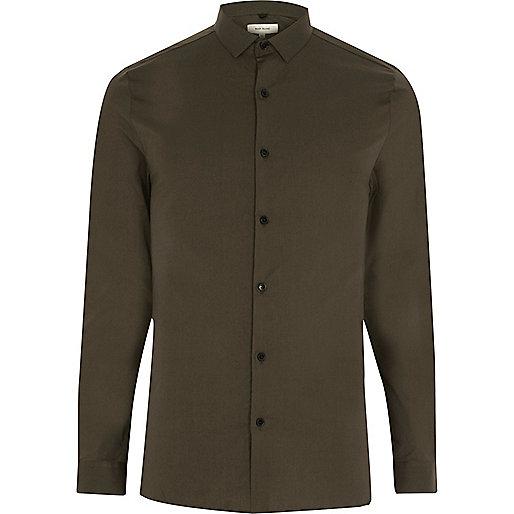 Khaki green stretch skinny shirt
