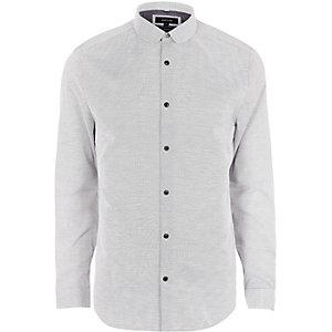 Graues Slim Fit Hemd mit Clubkragen