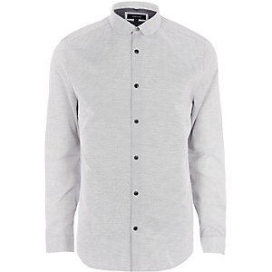 Grey penny collar slim fit shirt