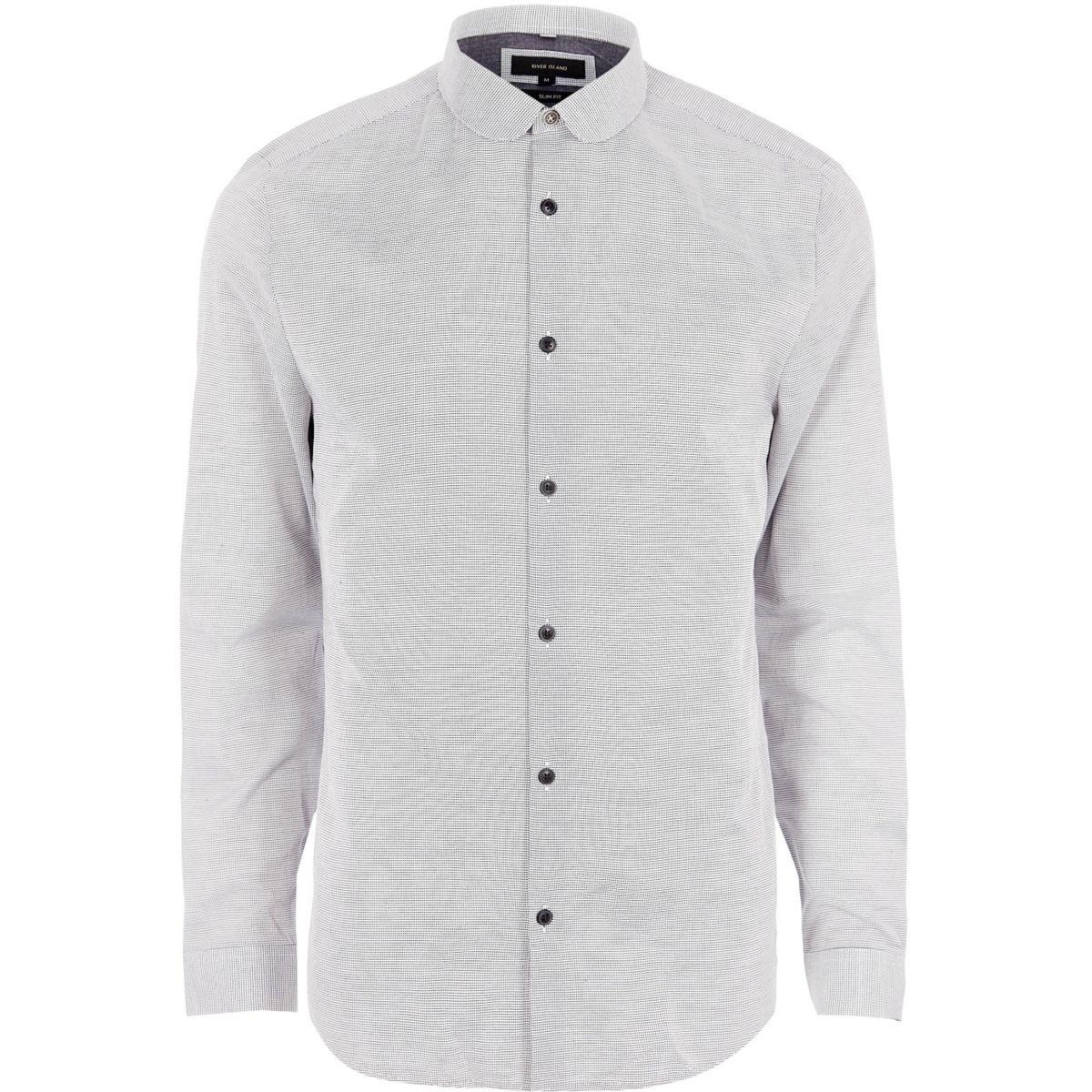 Grey penny collar slim fit shirt
