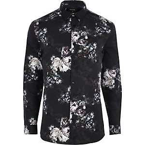 Black floral print muscle fit shirt