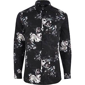 Chemise ajustée à fleurs noire