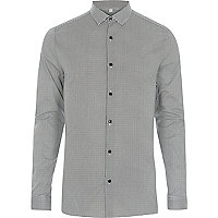 Black dogtooth smart skinny fit shirt