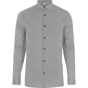 Schwarzes Skinny Fit Hemd mit Hahnentritt-Muster