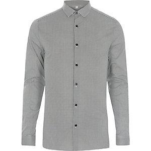 Chemise habillée coupe skinny motif pied-de-poule noire