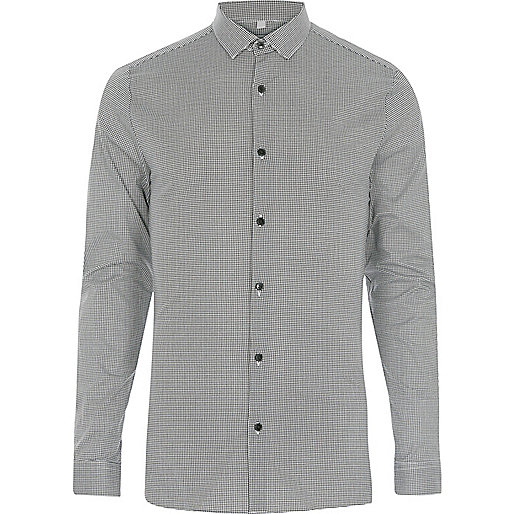 Black houndstooth smart skinny fit shirt