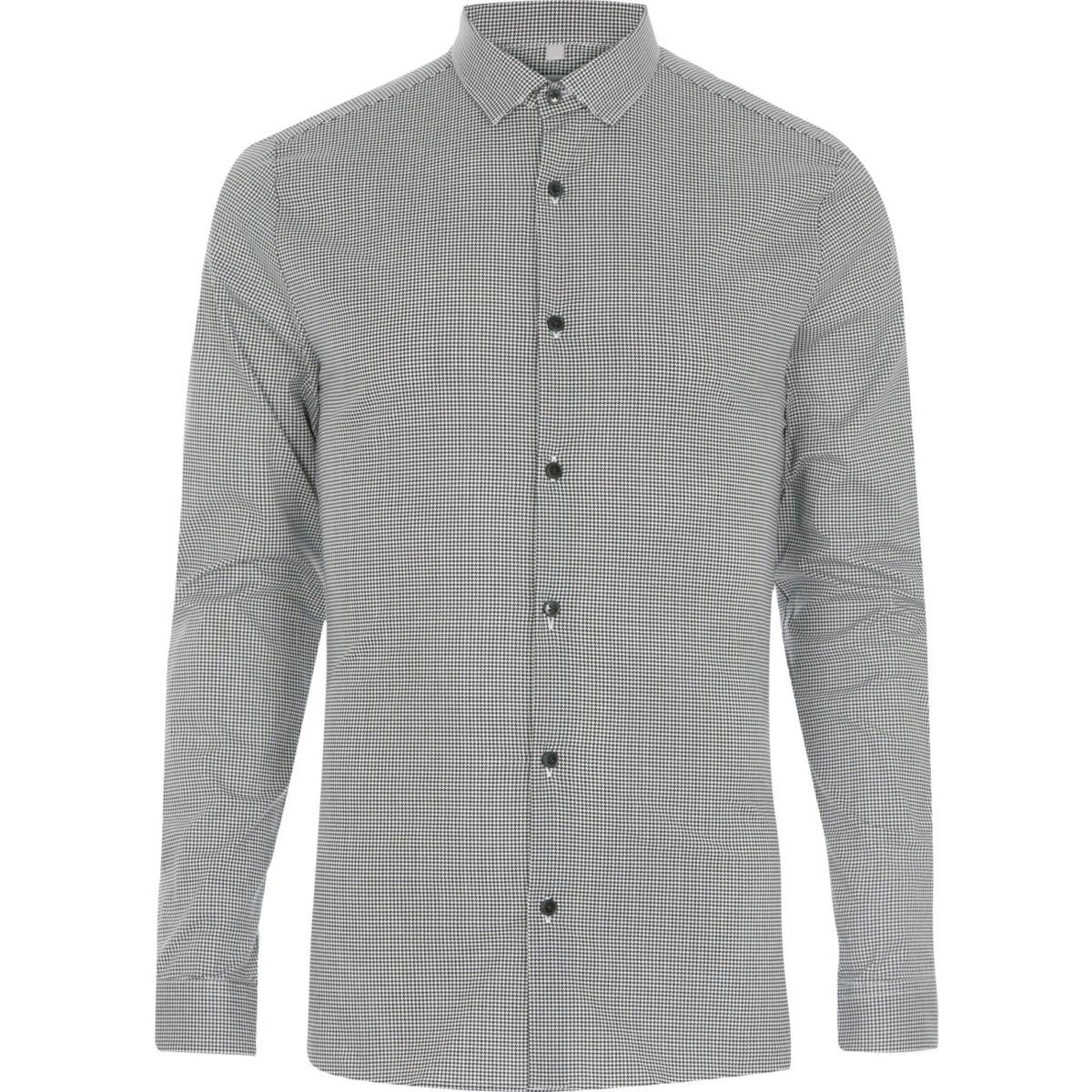 Zwart net skinny-fit overhemd met ruitmotief