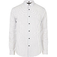 White polka dot slim fit smart shirt