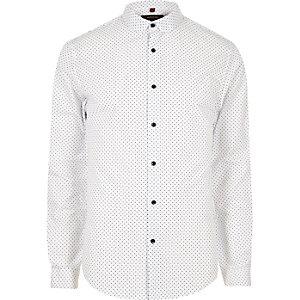 Chemise blanche à pois cintrée habillée