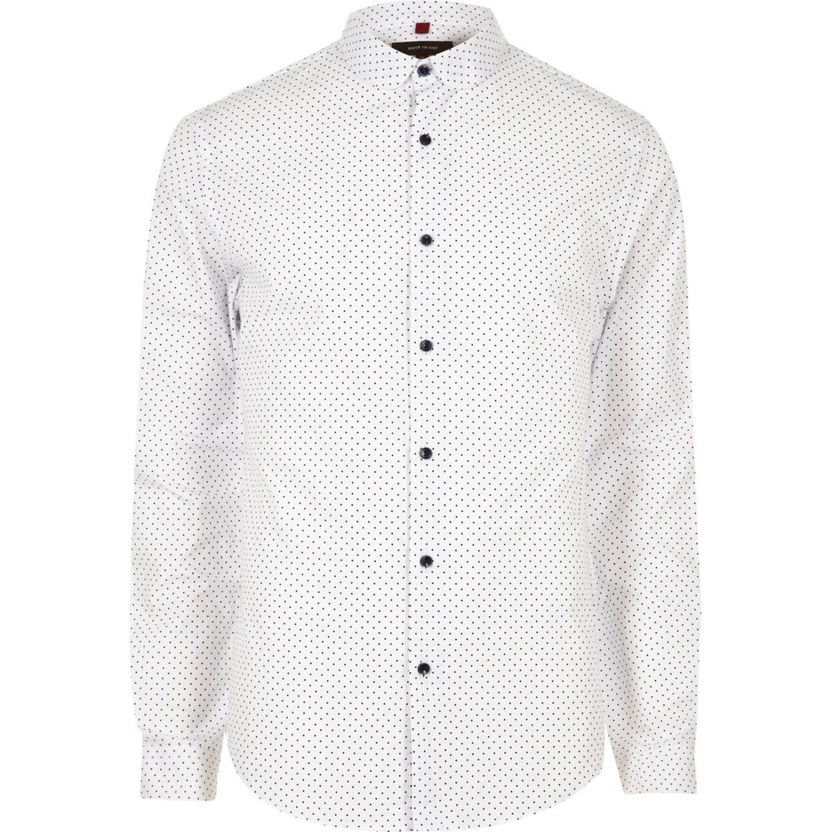 White polka dot slim fit smart shirt