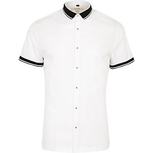 White ribbed collar muscle fit shirt