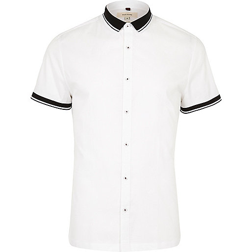 White ribbed collar slim fit shirt