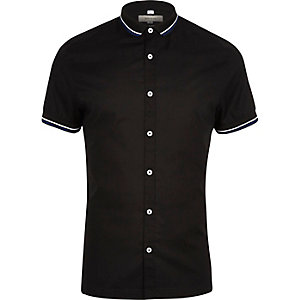 Black ribbed collar muscle fit shirt
