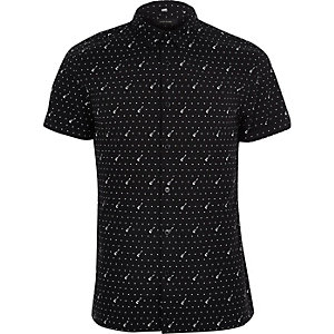 Black guitar print casual short sleeve shirt