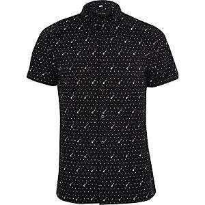 Zwart casual overhemd met korte mouwen en gitaarprint