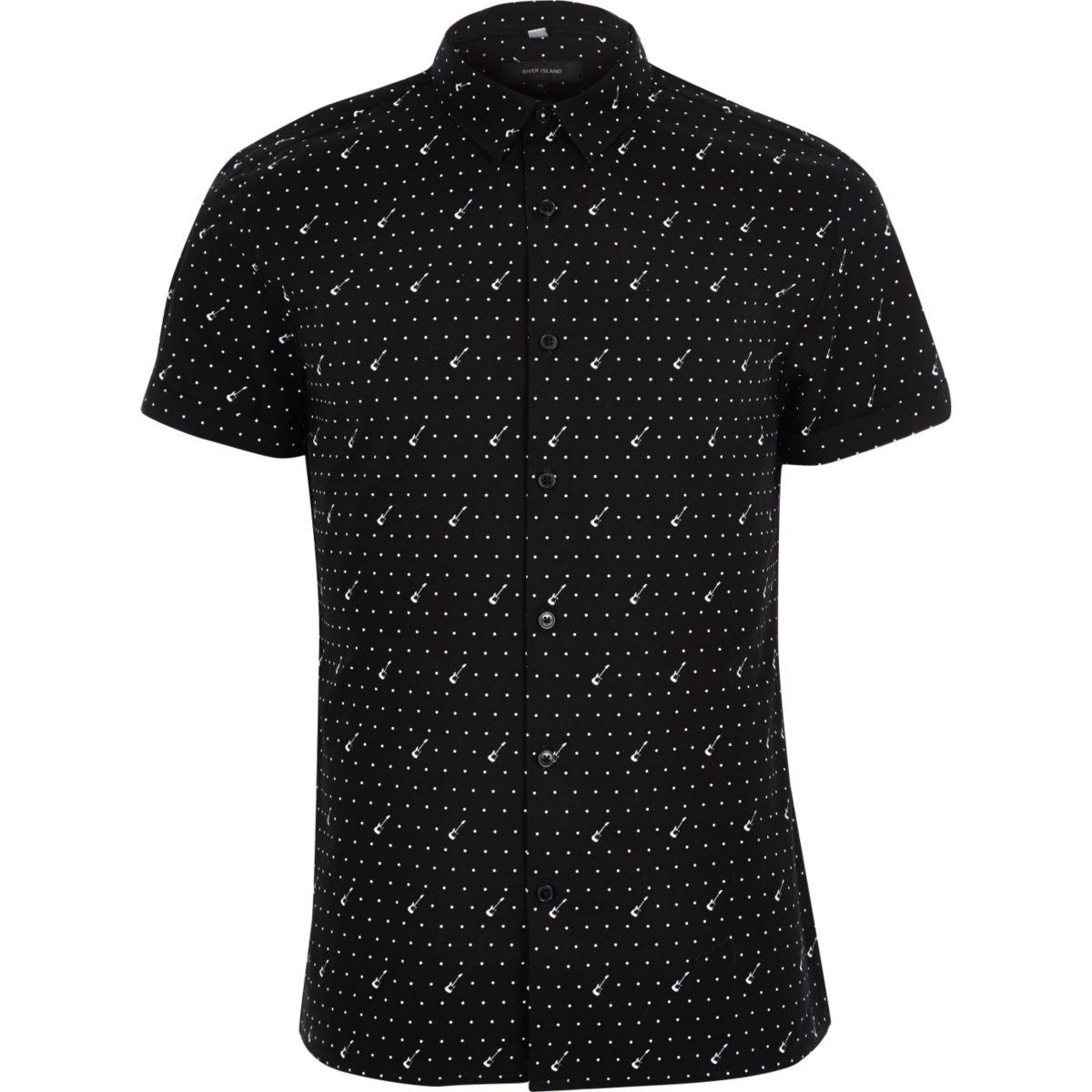 Black guitar print smart short sleeve shirt