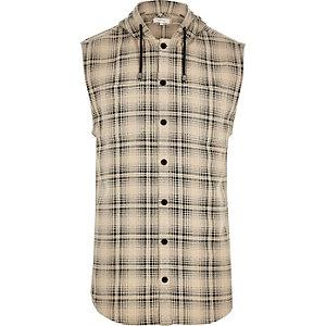 Chemise à carreaux crème sans manche à capuche