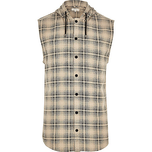 Cream sleeveless hooded check shirt