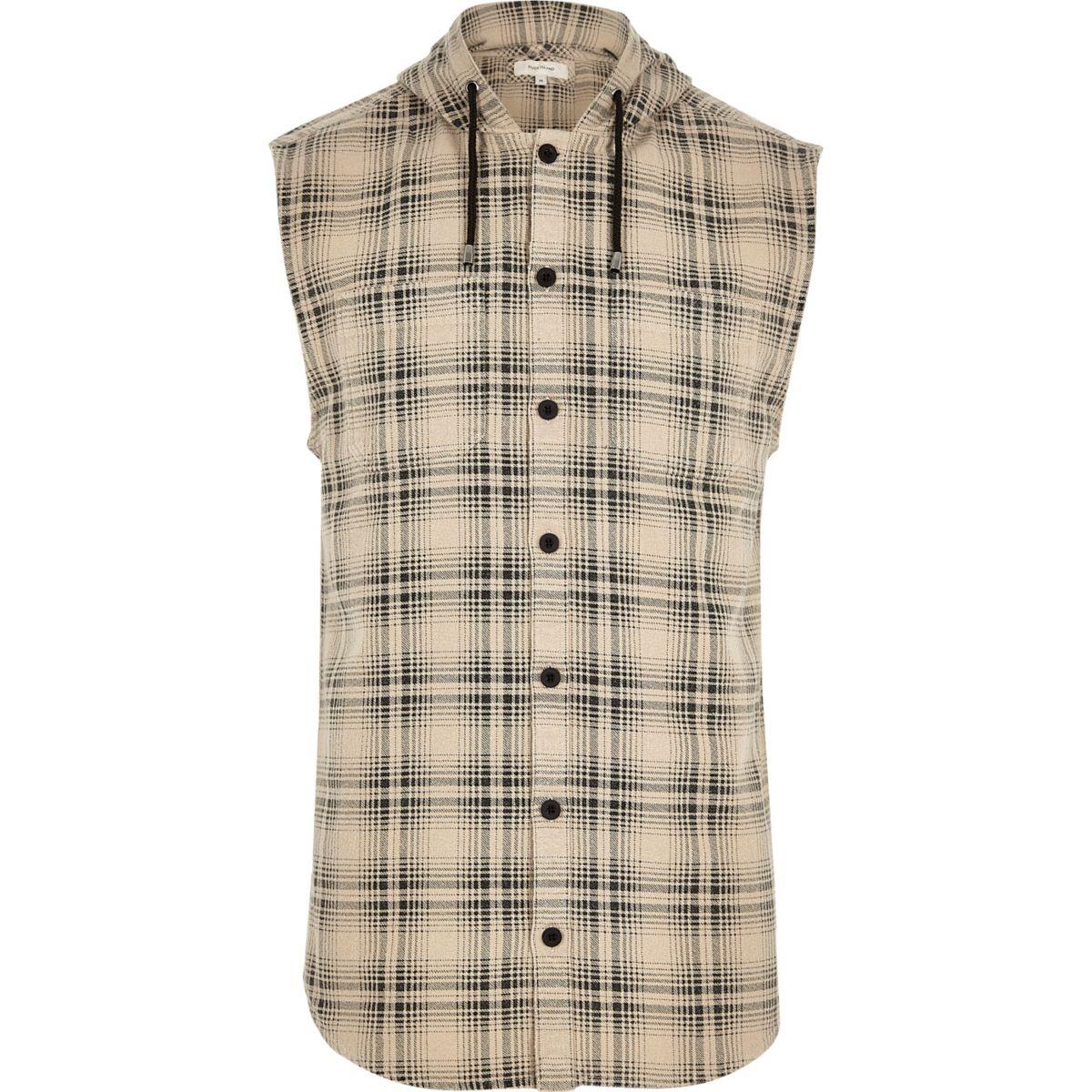 Cream sleeveless hooded check shirt