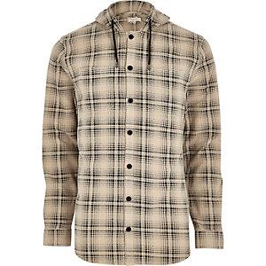 Cream hooded check long sleeve shirt