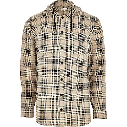 Cream hooded check long sleeve shirt