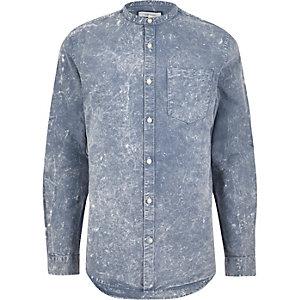 Oxford-Hemd in blauer Acid-Waschung