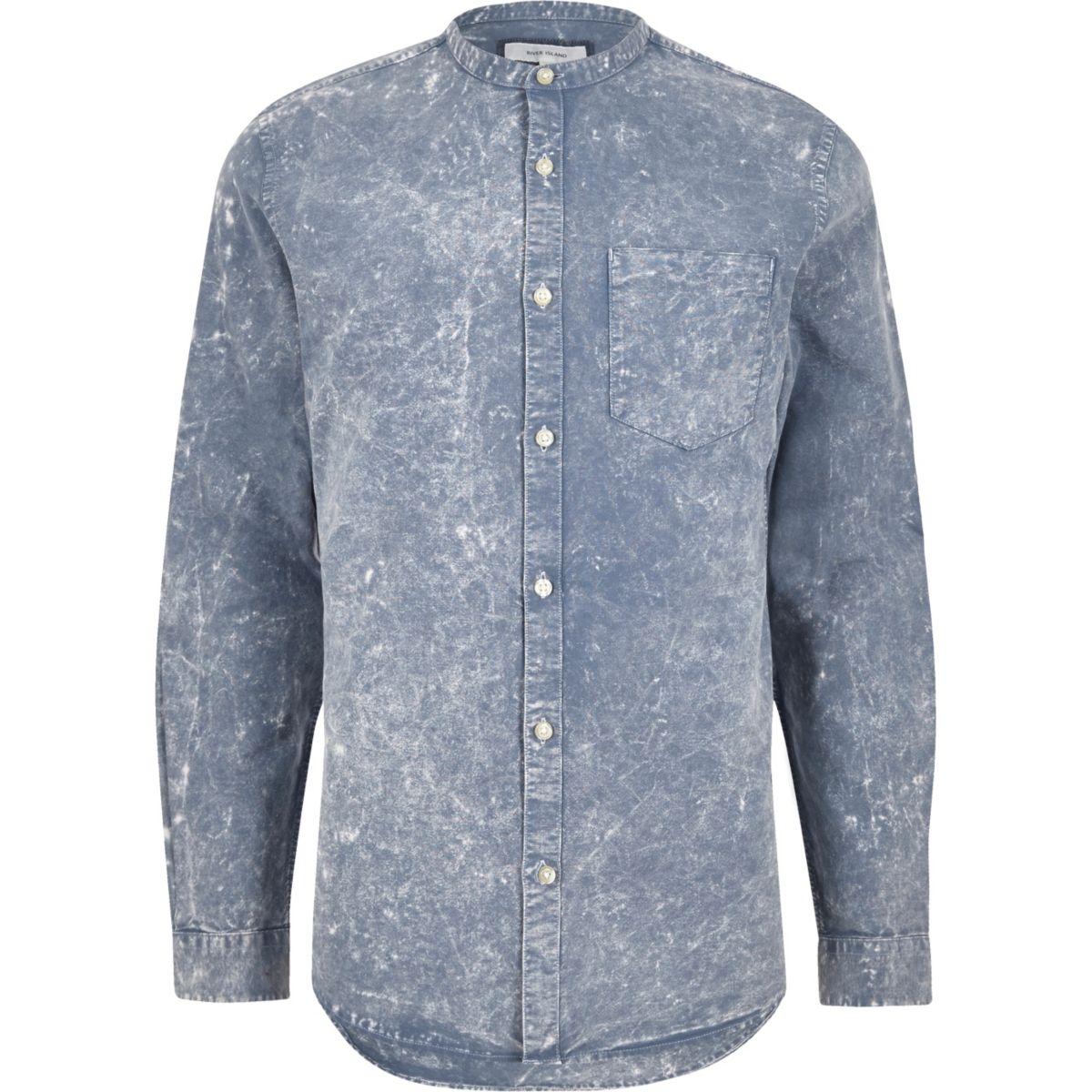 Blue acid wash Oxford grandad shirt