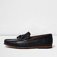 Schwarze Loafer mit Prägung und Quaste