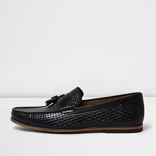 Black embossed weave tassel loafers