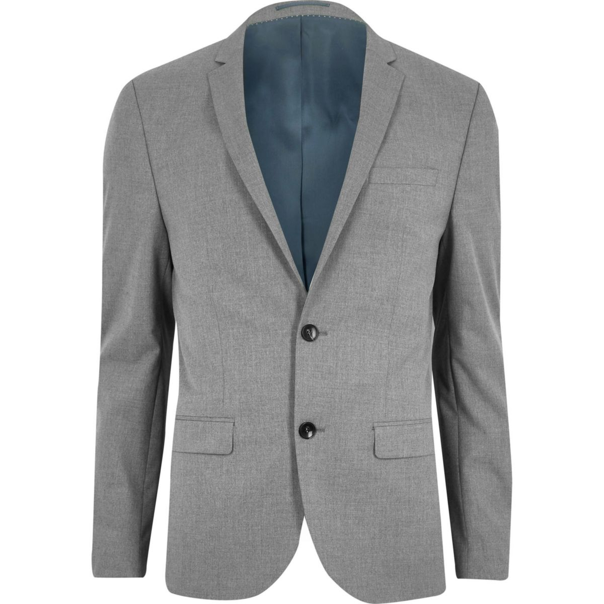 Light grey skinny fit suit jacket - Suit Jackets - Suits - men