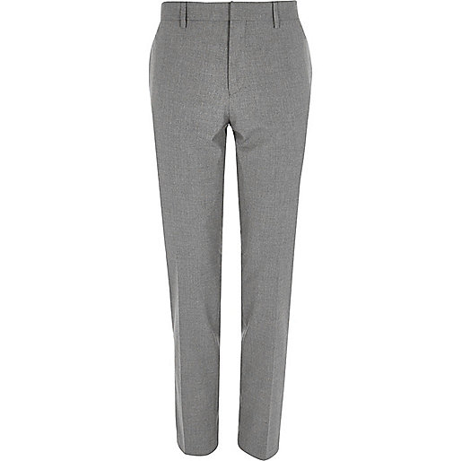 Light grey skinny suit pants