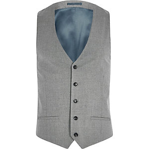 Grey slim fit suit vest