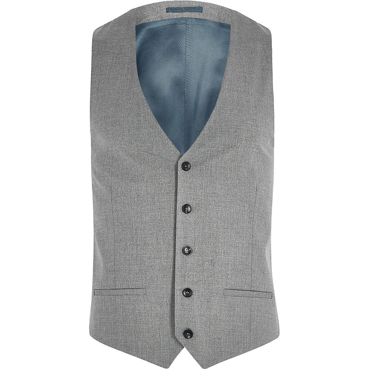 Grey slim fit suit vest