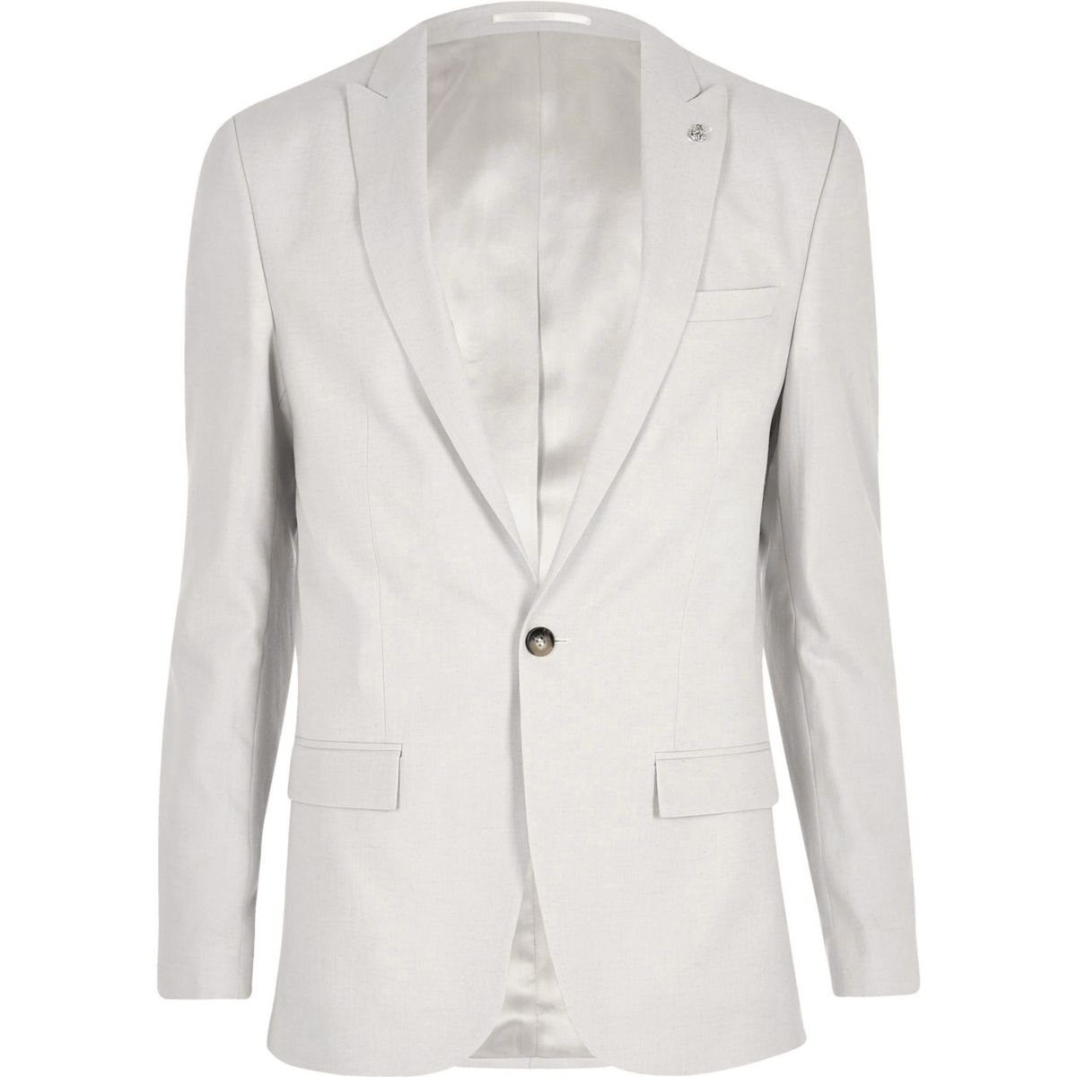 Beige linen slim fit suit jacket