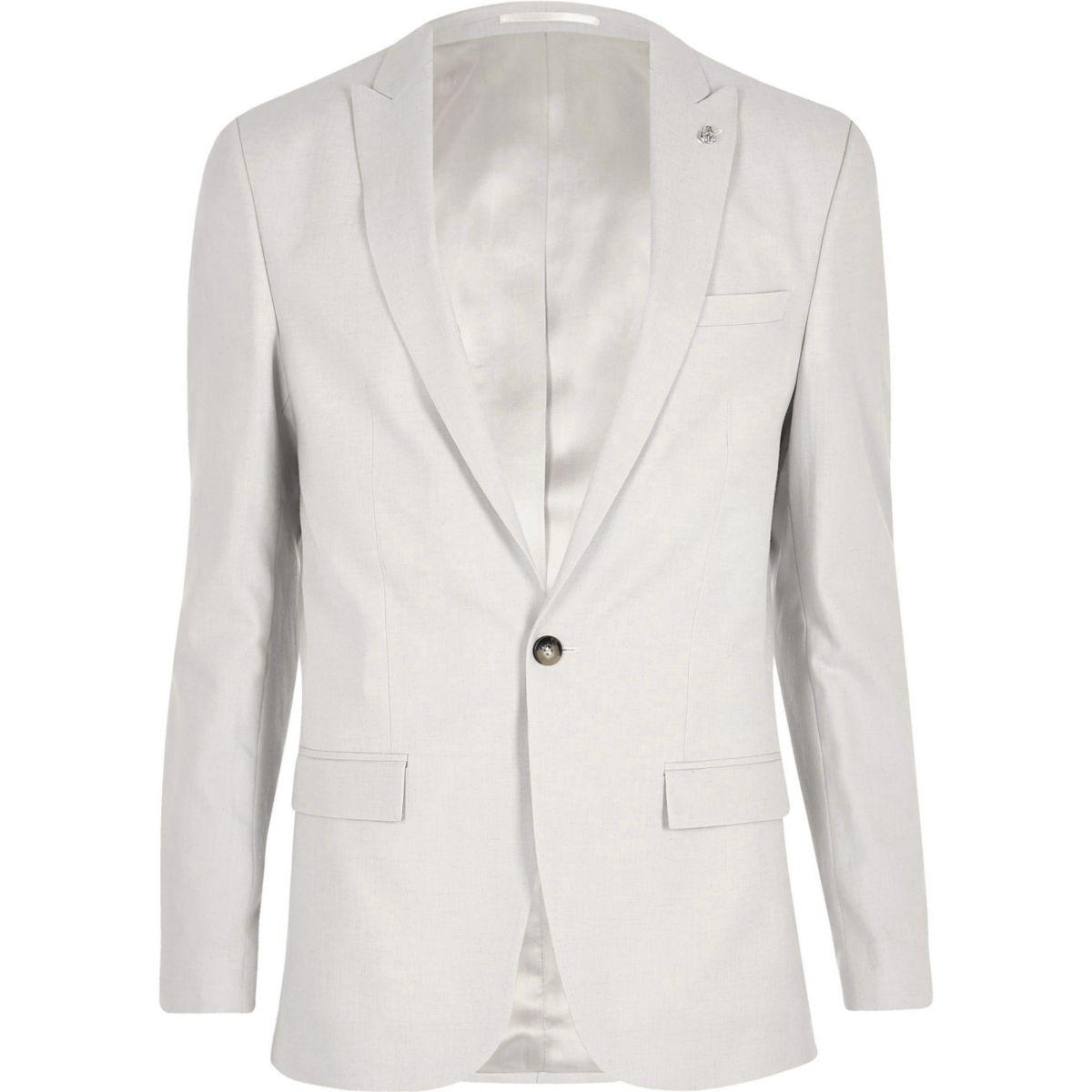 Beige Slim Fit Anzugsjacke aus Leinen