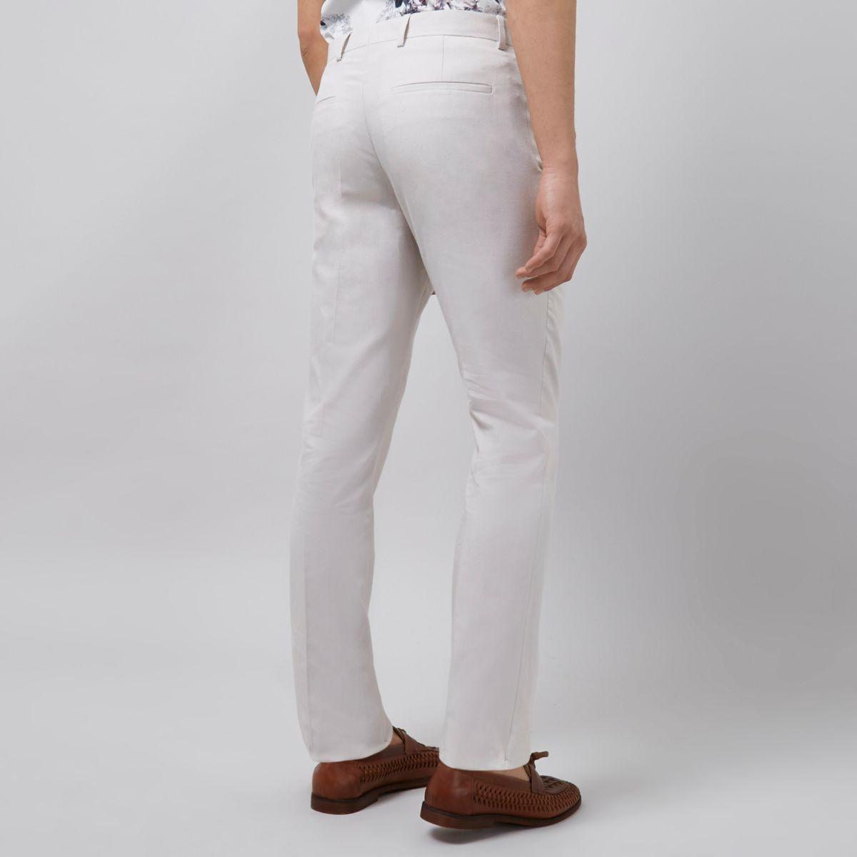 Beige Linen Slim Fit Suit Pants by River Island