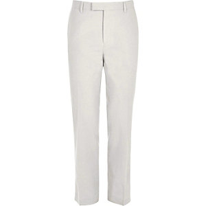 Beige linen slim fit suit trousers