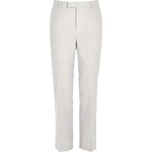 Pantalon de costume coupe slim en lin beige