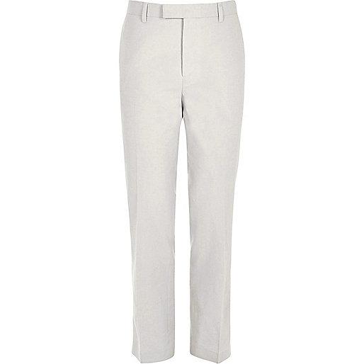 Beige linen slim fit suit trousers