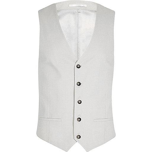 Beige linen vest