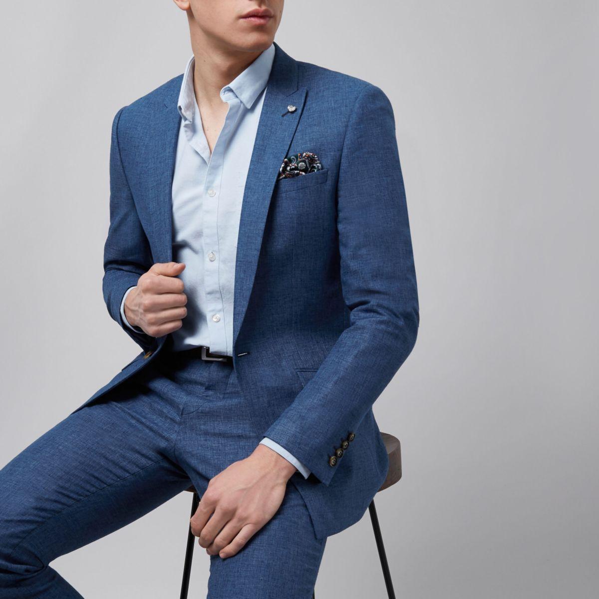 Blauw linnen slim-fit colbert