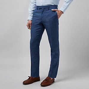 Blauwe linnen slim-fit pantalon