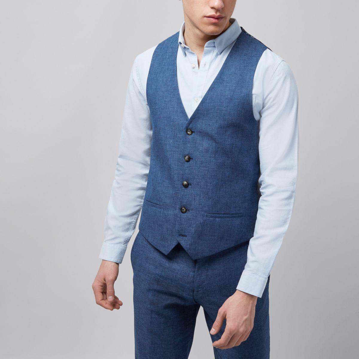 Blue linen vest