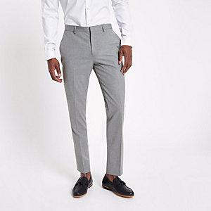 Pantalon de costume coupe slim habillé gris